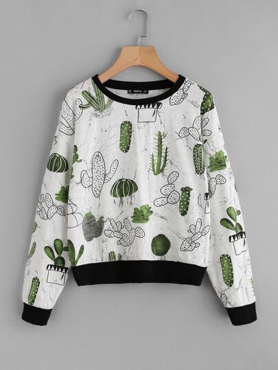 Allover Cactus Print Ringer Sweatshirt