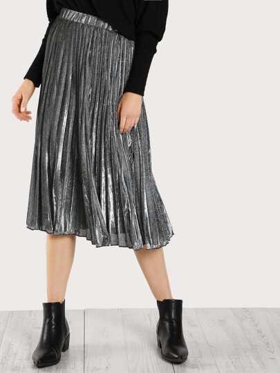 High Rise Pleated Metallic Skirt SILVER