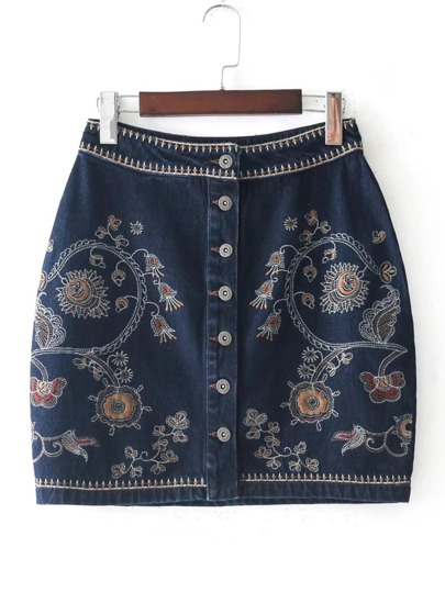 Flower Embroidery Denim Skirt