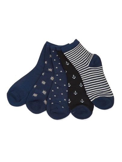 5 pares de calcetines con timón
