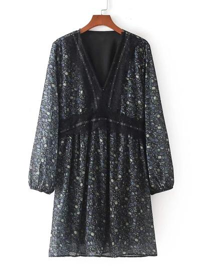 Lace Trim Calico Print Chiffon Dress