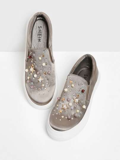 Faux Pearl Satin Slip On Sneakers