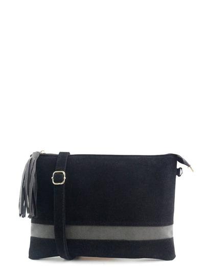 حقيبة يد سوداء جلد غزال مع مقبض