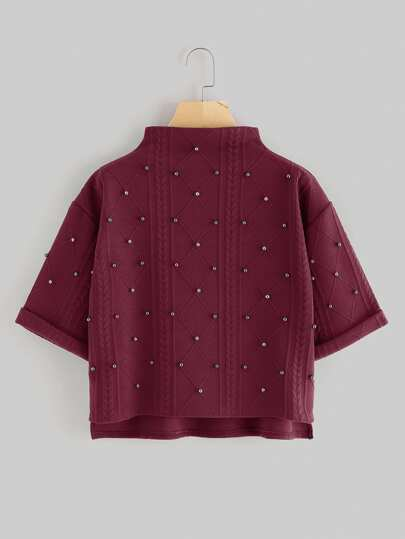 Mock Neck Beading Embossed High Low Pullover