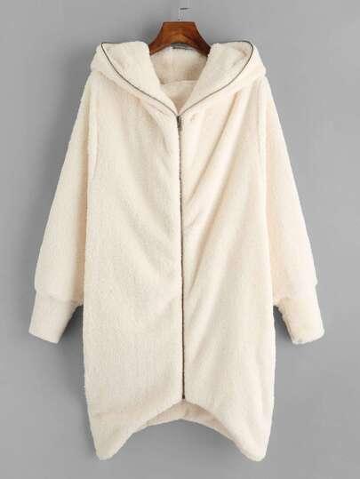 Hooded Zip Up Asymmetric Hem Fluffy Coat