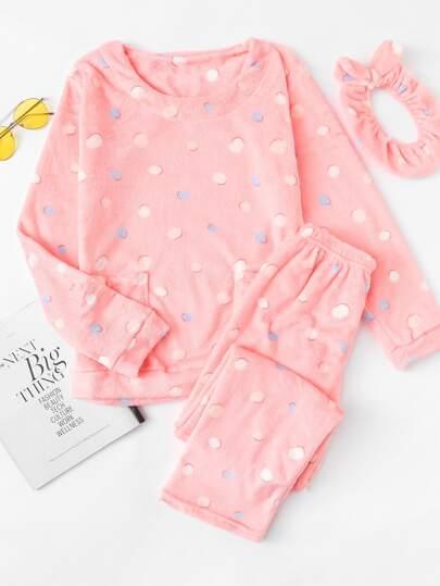 Conjunto de pijama de lunares con diadema