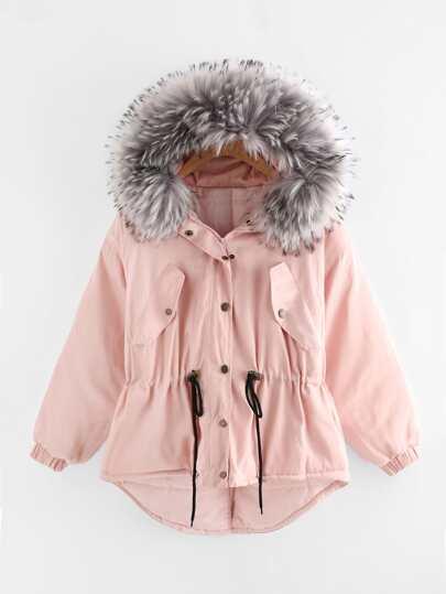 Faux Fur Hood Drawstring Waist Dip Hem Coat