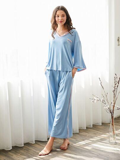 Contrast Trim Tee & Pants Pajama Set