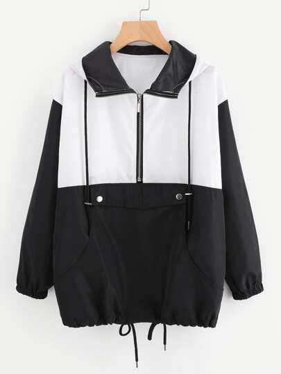 Color Block Zipper Front Drawstring Hem Jacket