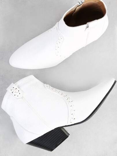 Cracked PU Point Toe Western Boots WHITE