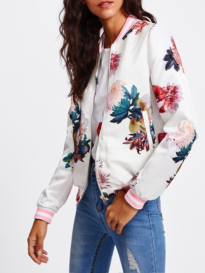 Striped Trim Floral Bomber Jacket