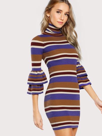 Ruffle Sleeve Turtleneck Striped Bodycon Dress CAMEL