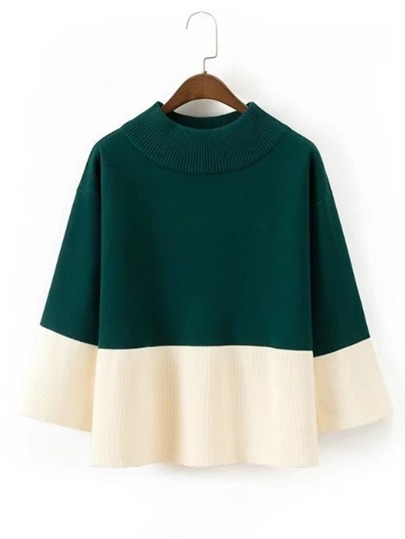 Two Tone Rib Knit Sweater