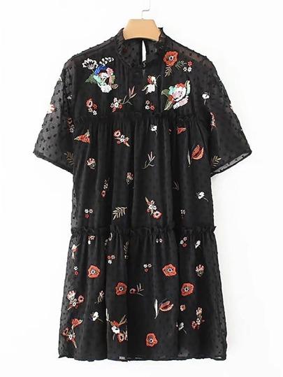 Textured Dot Flower Embroidery Dress