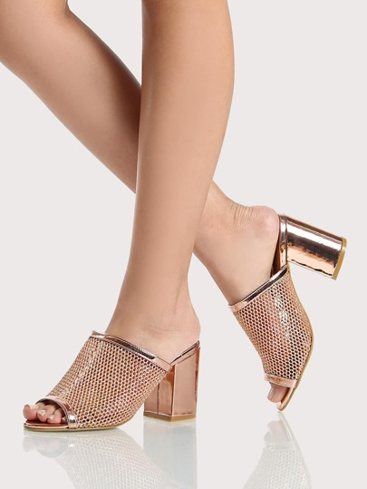 Fishnet Metallic Rim Peep Toe Mules ROSE GOLD