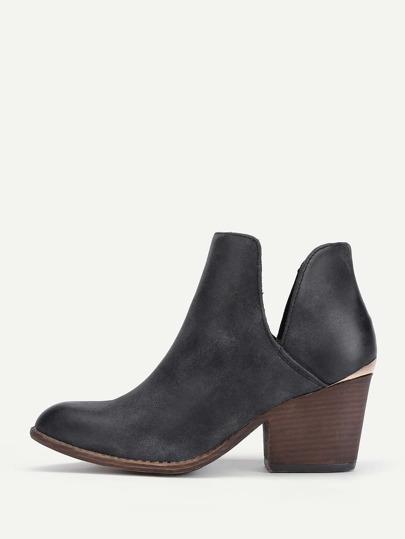 V Cut Design PU Ankle Boots