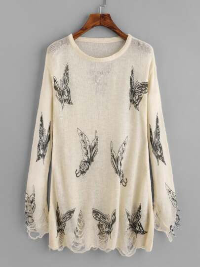 Pull tricoté imprimé papillon