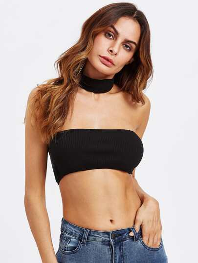 Ribbed Bandeau With Choker
