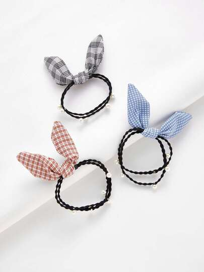 Knotted Bow & Faux Pearl Hair Tie 3pcs