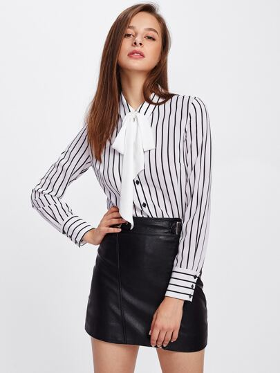 Tie Neck Vertical Striped Blouse