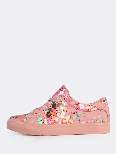 Floral Print Lace Up Sneakers BLUSH