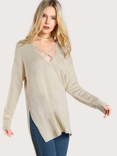 Criss Cross Long Sleeve Knit Sweater CREAM