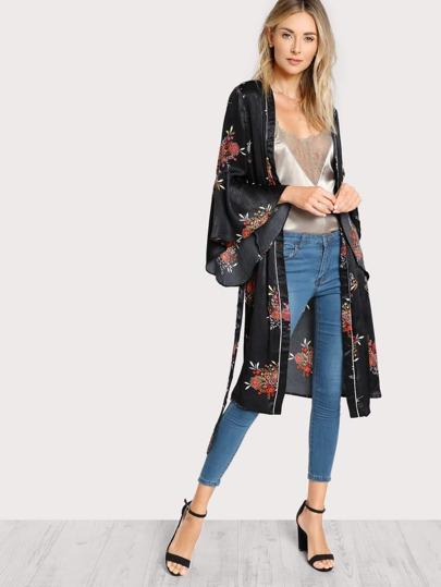 Satin Bell Sleeve Kimono BLACK