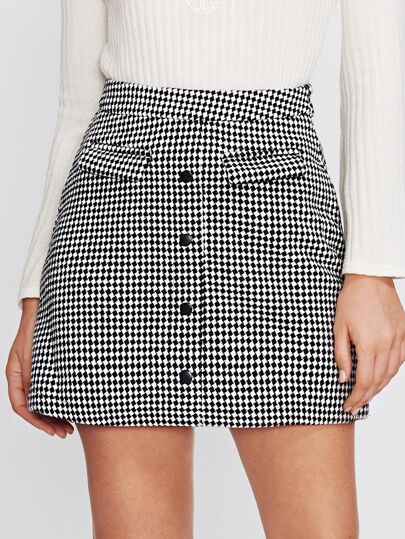 Non Functional Pocket Button Up Checkered Skirt