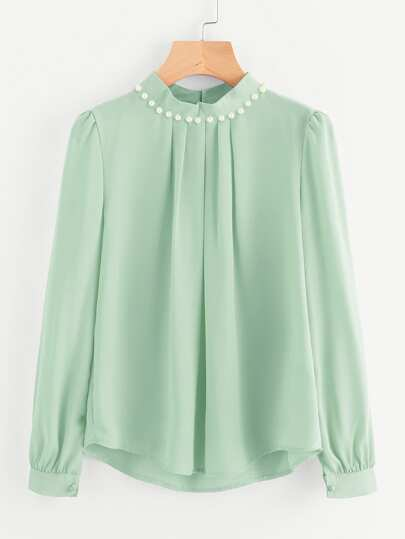 Модная шифоновая блуза с бусинами