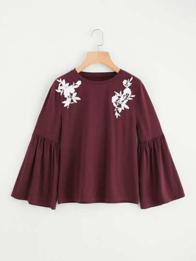 Flower Applique Fluted Sleeve Heather Knit Tee