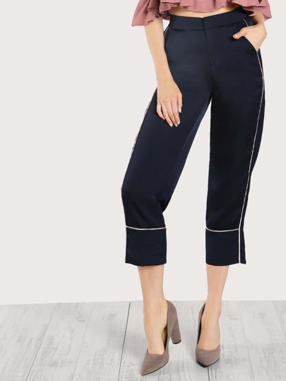High Rise Contrast Striped Pants NAVY