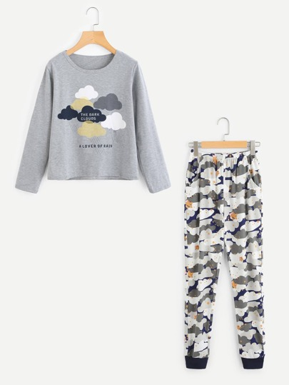 Cloud Print Pullover And Pants Pajama Set