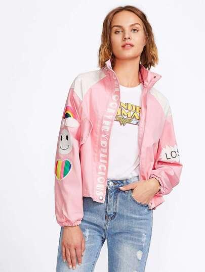 Cut And Sew Cartoon Applique Jacket