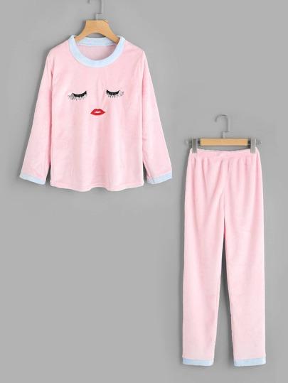 Face Embroidered Contrast Trim Pajama Set