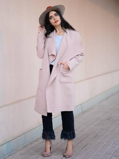 Drop Shoulder Drape Collar Wrap Coat