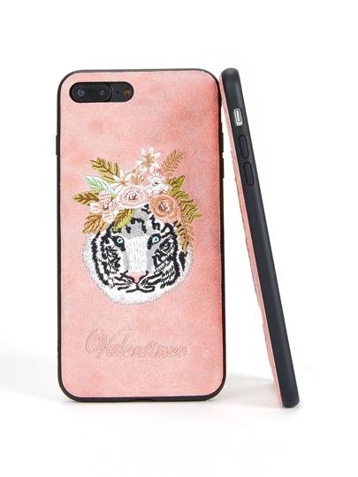 Funda de iPhone con bordado de tigre y flor