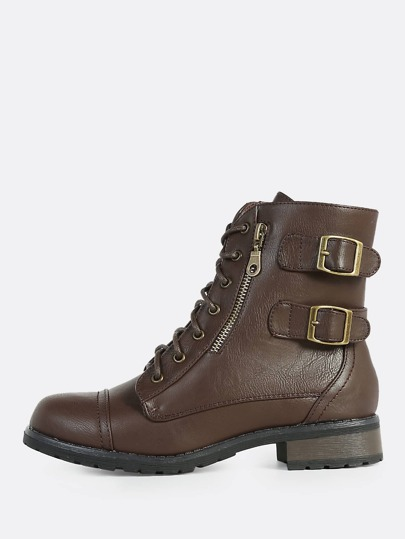 Lace Up Faux Leather Combat Boots BROWN