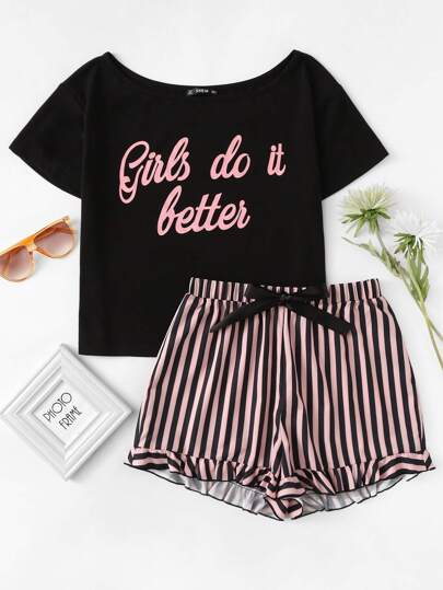 Letter Print Top & Striped Shorts Pajama Set