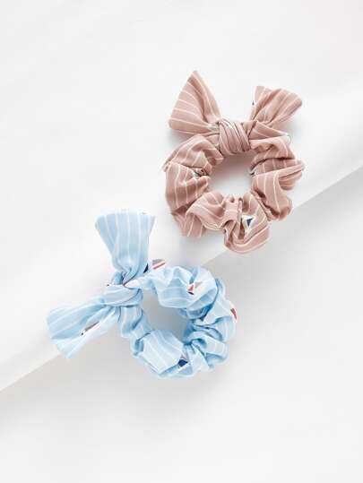 Striped Knot Hair Tie 2pcs