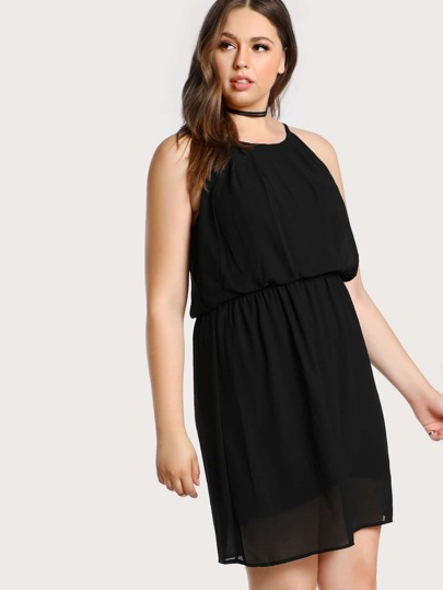 Elasticized Waist Cami Dress