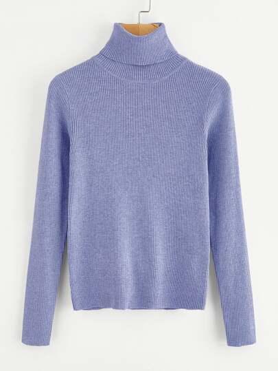 Strick Pullover mit gerolltem Ausschnitt