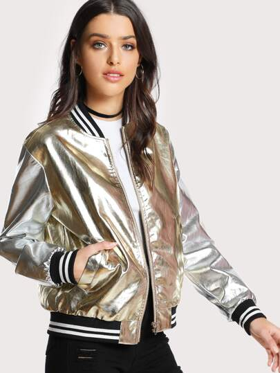 Striped Trim Faux Leather Bomber Jacket
