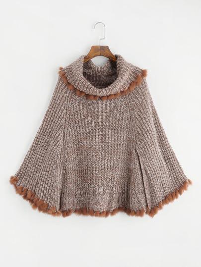 Faux Fur Trim Cape Sweater