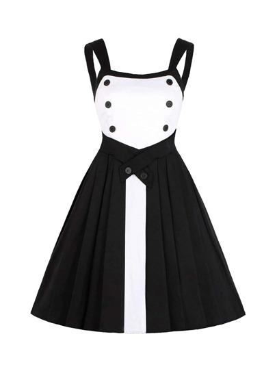 Color Block Button Detail Pleated Dress