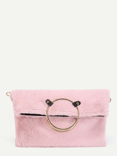 Faux Fur Ring Tote Bag With Chain