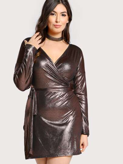 Metallic Long Sleeve Dress PURPLE