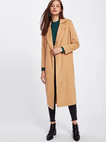 Revere Collar Long Wool Coat