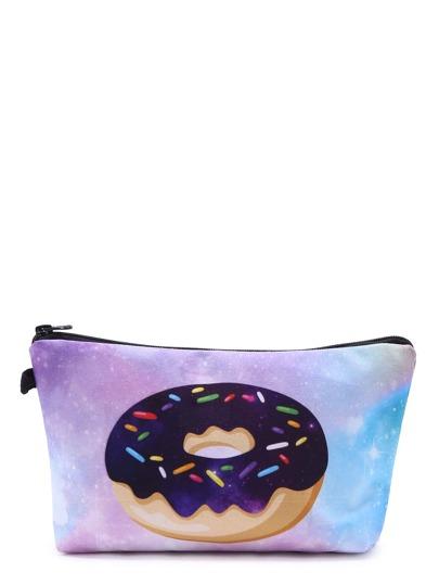 Doughnut And Galaxy Print Makeup Bag