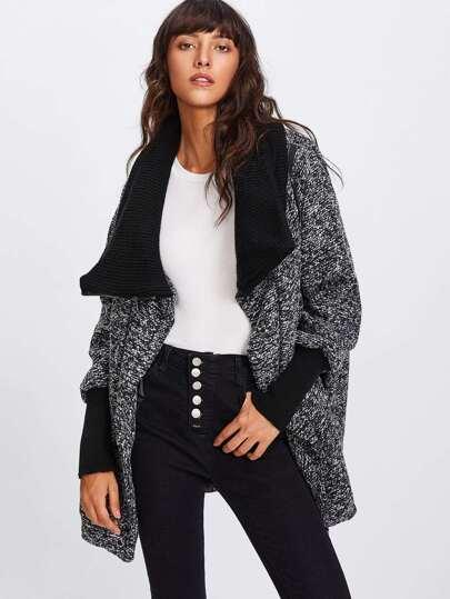 Contrast Knit Collar & Cuff Tweed Coat