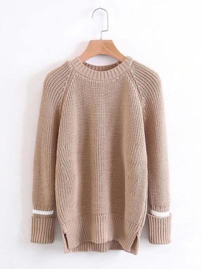 Pullover mit Raglanärmeln und abfallendem Saum